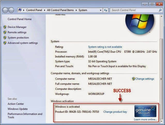 windows 7 product key setup