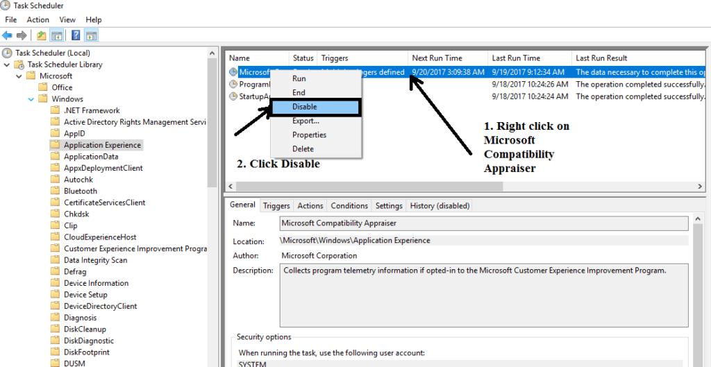 Task Scheduler window