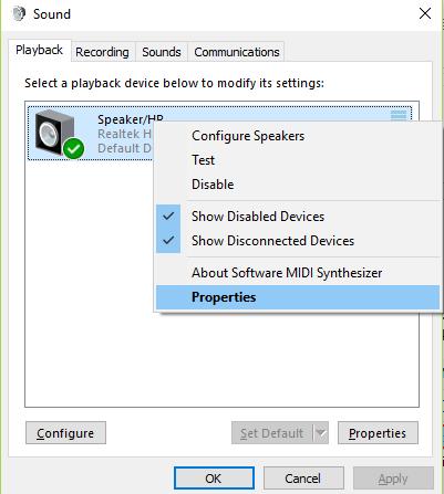 windows sound properties