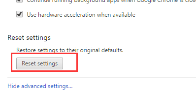 reset settings chrome