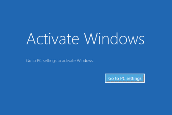 go to settings to activate windows black screen