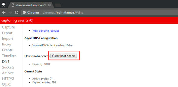 clearing host cache