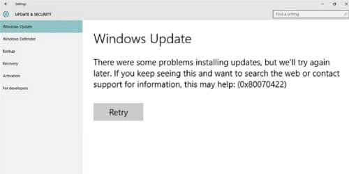 Windows Error 0x80070422