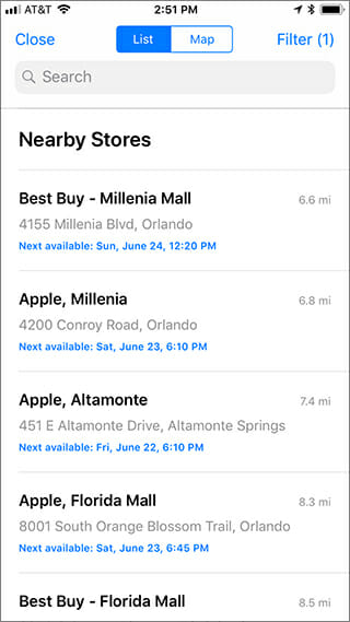 apple appointment locations