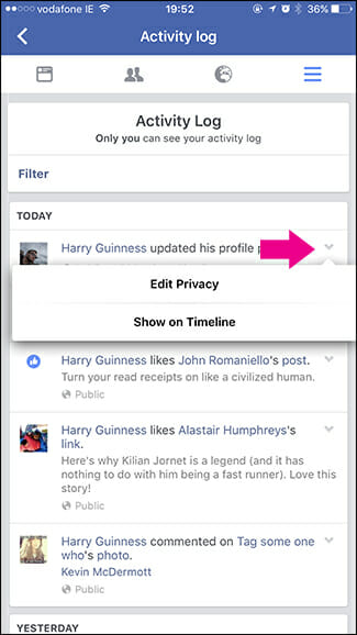 how to unhide facebook posts