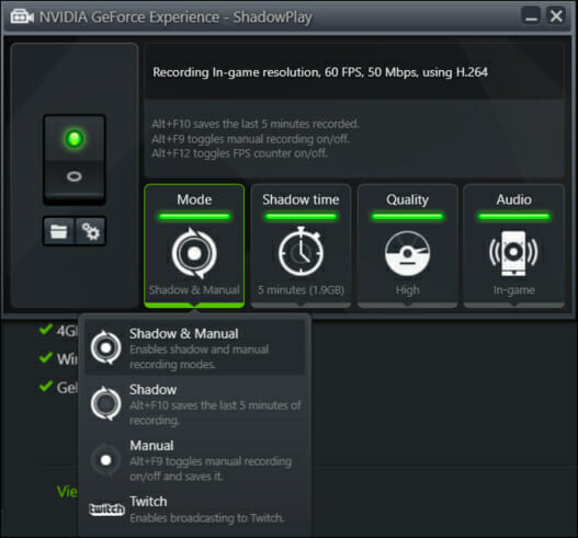 Configuring Nvidia's ShadowPlay
